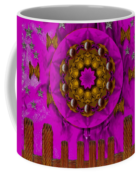 Landscape Coffee Mug featuring the mixed media A Heavenly Sunshine Landscape by Pepita Selles