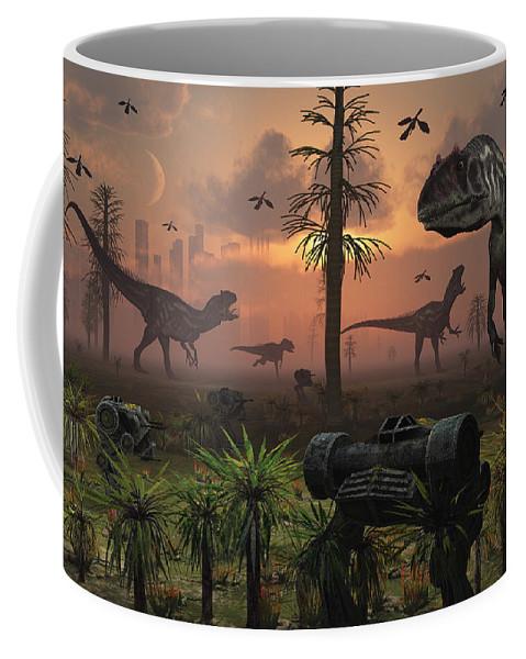 Paleozoology Coffee Mug featuring the digital art A Herd Of Allosaurus Dinosaur Cause by Mark Stevenson