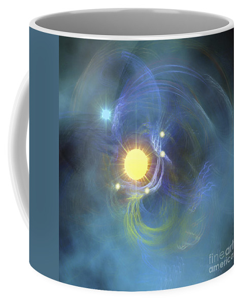Science Fiction Coffee Mug featuring the digital art A Large Sun Is Veiled By Surrounding by Corey Ford