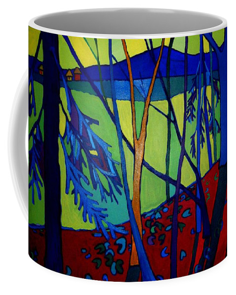 Landscape Coffee Mug featuring the painting A Light in the Forest by Debra Bretton Robinson