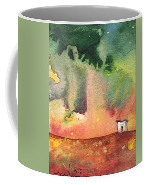 Travel Coffee Mug featuring the painting A Little House On Planet Goodaboom by Miki De Goodaboom