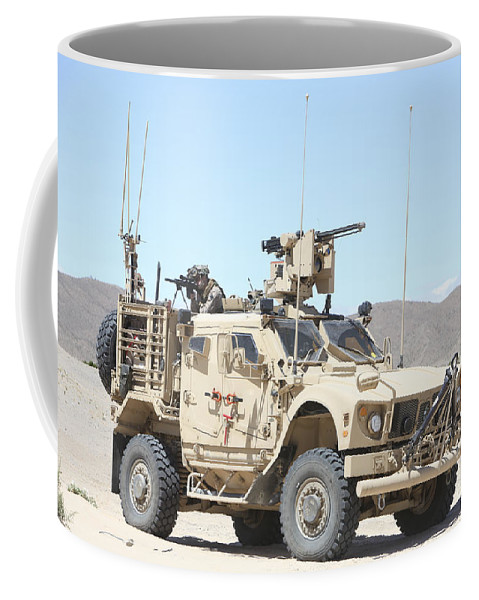 Us Marine Corps Coffee Mug featuring the photograph A Marine Sniper Provides Security by Stocktrek Images