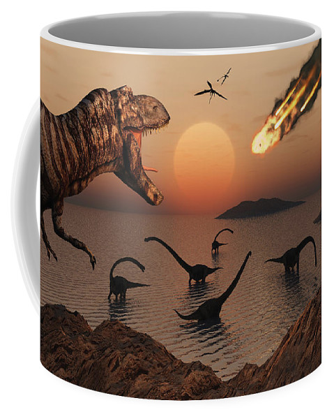 Digitally Generated Image Coffee Mug featuring the digital art A Mighty T. Rex Roars From Overhead by Mark Stevenson