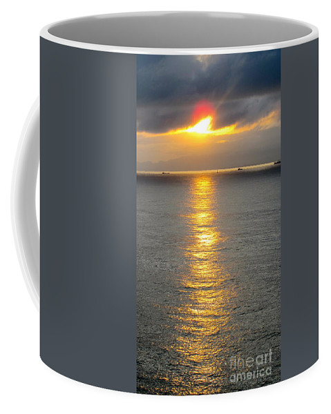 Red Coffee Mug featuring the photograph A Moment In Red And Gold Please Open by Phyllis Kaltenbach