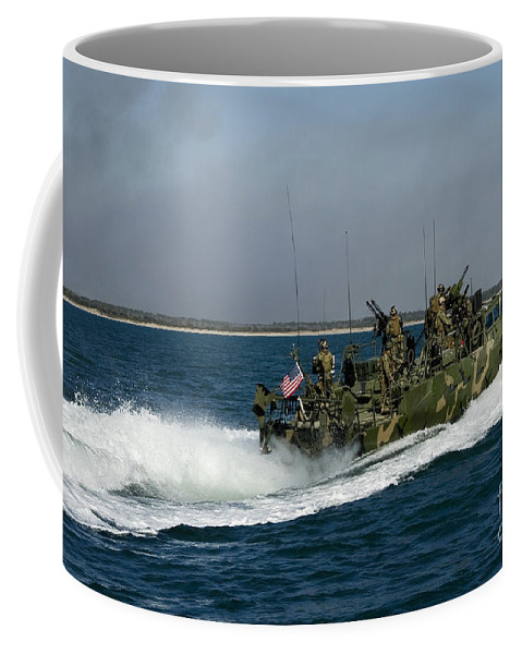 Military Coffee Mug featuring the photograph A Riverine Command Boat During Exercise by Stocktrek Images