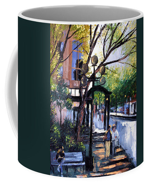 A Saturday Stroll Framed Prints Coffee Mug featuring the painting A Saturday Stroll by Anthony Falbo