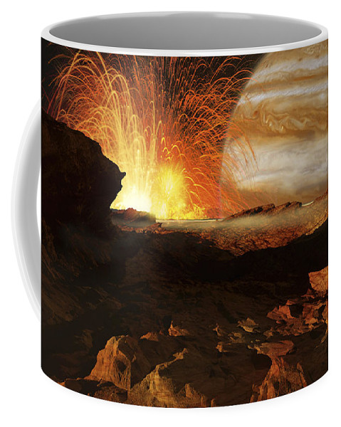 Color Image Coffee Mug featuring the digital art A Scene On Jupiters Moon, Io, The Most by Ron Miller