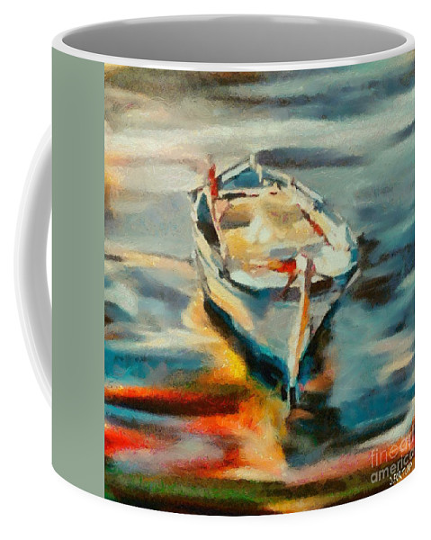 Boat Coffee Mug featuring the painting A Single Boat by Dragica Micki Fortuna