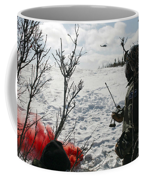Adults Only Coffee Mug featuring the photograph A Soldier Uses Red Smoke To Signal by Stocktrek Images