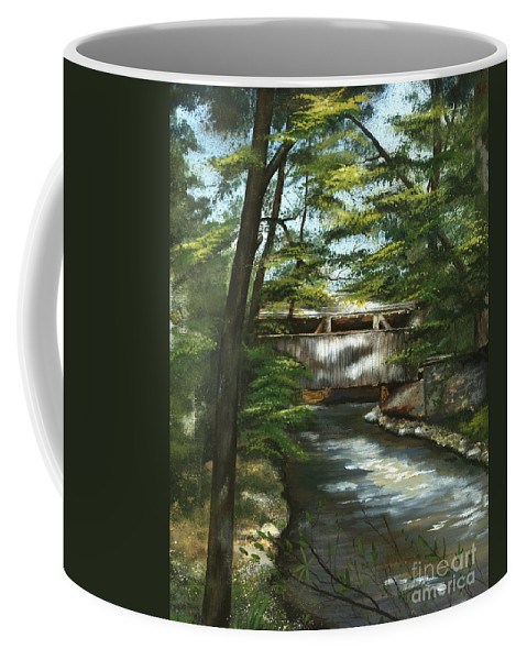 Covered Bridge Coffee Mug featuring the painting A Summer Walk Along The Creek by Nancy Patterson