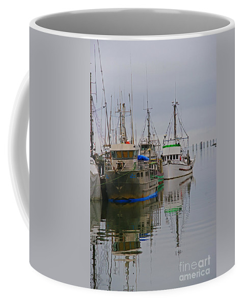 Fishing Boats Coffee Mug featuring the photograph A Touch Of Blue And Green by Randy Harris