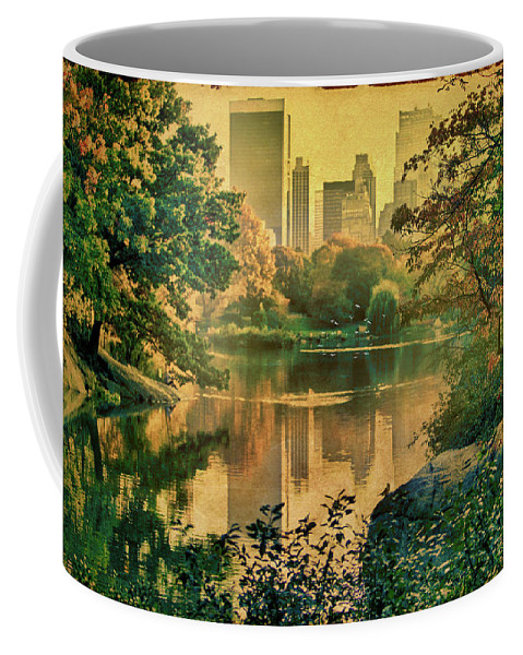 Autumn Coffee Mug featuring the photograph A Vintage Glimpse Of The Boating Lake by Chris Lord