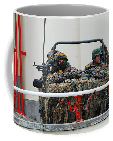 Military Coffee Mug featuring the photograph A Vw Iltis Recce Jeep On Guard by Luc De Jaeger