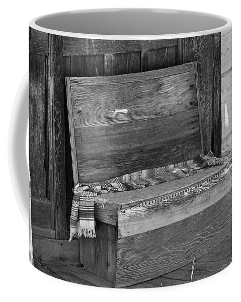 Bench Coffee Mug featuring the photograph A Weathered Bench Black And White by Phyllis Denton