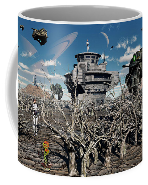 Landscape Coffee Mug featuring the digital art A World Stripped Bare From The Effects by Mark Stevenson