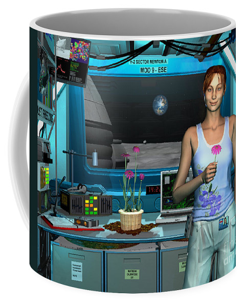 Space Exploration Coffee Mug featuring the digital art A Young Radio Astronomer Stationed by Walter Myers