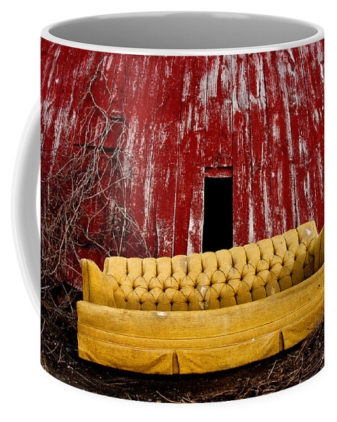 Barn Coffee Mug featuring the photograph Abandoned Couch by Cale Best
