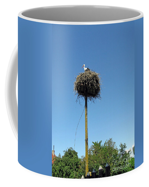 Stork Coffee Mug featuring the photograph Above The Tree Tops by Ausra Huntington nee Paulauskaite