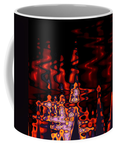 Abstract Digital Art Expressionism Impressionism Color Colorful River Reflection 70s Coffee Mug featuring the digital art Abstract Fractals 1 by Steve K
