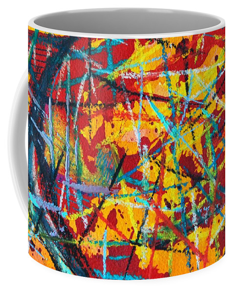Abstract Coffee Mug featuring the painting Abstract Pizza 1 by Ana Maria Edulescu