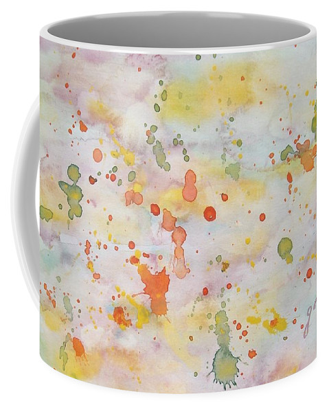 Abstract Sky Coffee Mug featuring the painting Abstract Summer Sky Watercolor Painting by Georgeta Blanaru