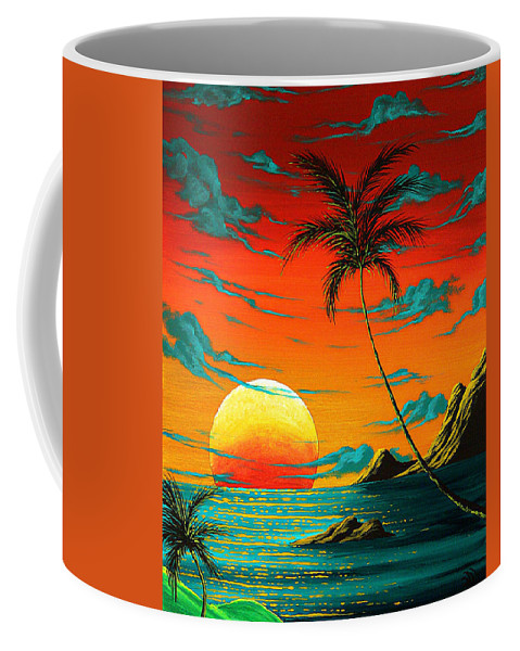 Abstract Coffee Mug featuring the painting Abstract Surreal Tropical Coastal Art Original Painting Tropical Burn By Madart by Megan Duncanson