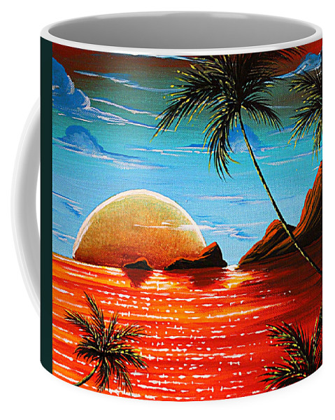 Abstract Coffee Mug featuring the painting Abstract Surreal Tropical Coastal Art Original Painting Tropical Fusion By Madart by Megan Duncanson