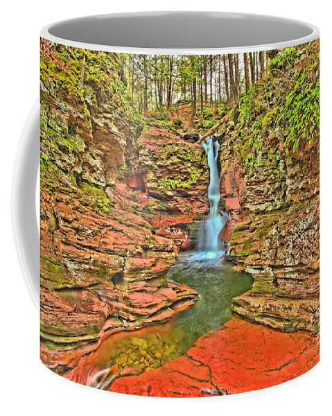 Ricketts Glen Coffee Mug featuring the photograph Adams Falls by Adam Jewell
