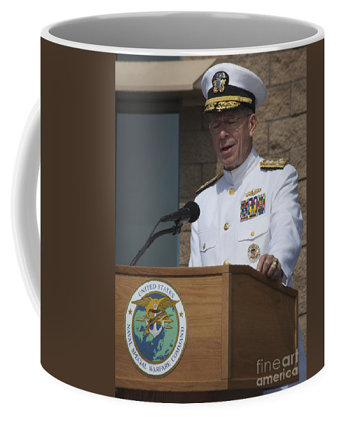 Military Coffee Mug featuring the photograph Admiral Mike Mullen Speaks by Michael Wood