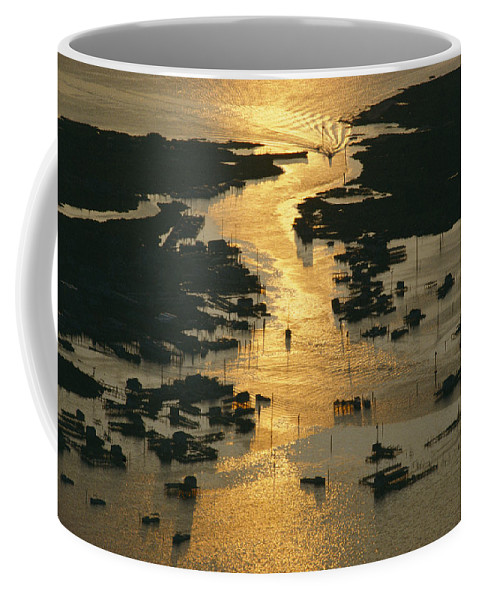 Geography Coffee Mug featuring the photograph Aerial Shot, Tangier Island, Chesapeake by Skip Brown