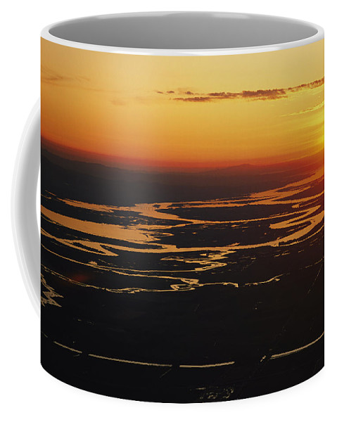 North America Coffee Mug featuring the photograph Aerial Sunset Of The Suisun Slough by Rich Reid