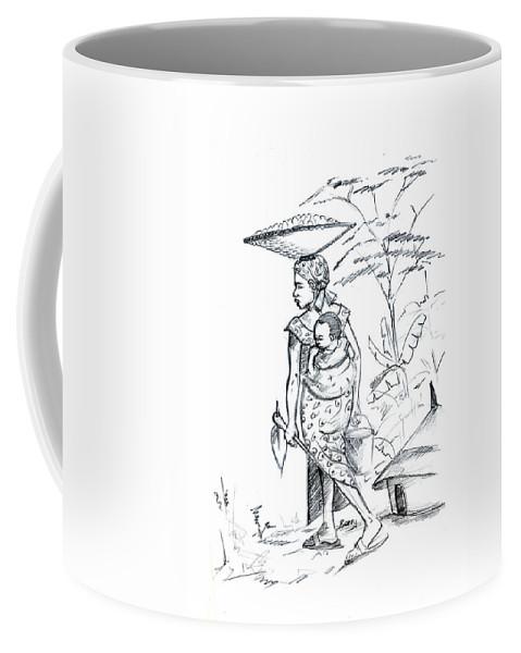 Africa Coffee Mug featuring the drawing African Rural Woman by Emmanuel Baliyanga