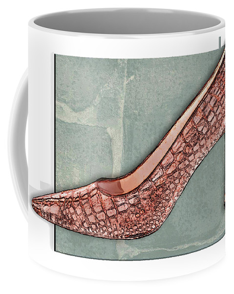 Shoes Heels Pumps Fashion Designer Feet Foot Shoe Stilettos Painting Paintings Illustration Illustrations Sketch Sketches Drawing Drawings Pump Stiletto Fetish Designer Fashion Boot Boots Footwear Sandal Sandals High+heels High+heel Women's+shoes Graphic Sophisticated Elegant Modern Coffee Mug featuring the painting After A While Crocodile Pumps by Elaine Plesser