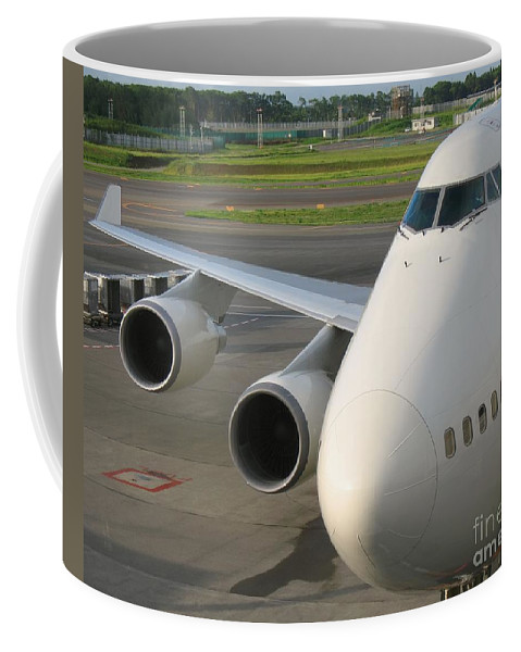 Jet Coffee Mug featuring the photograph Aircraft Nose And Wing by Yali Shi