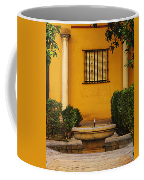 Fountain Coffee Mug featuring the photograph Alcazar Fountain In Spain by Greg Matchick