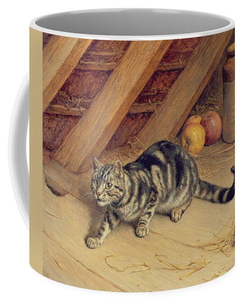 Cat; Apples; Loft Coffee Mug featuring the painting Alert by Frank Paton