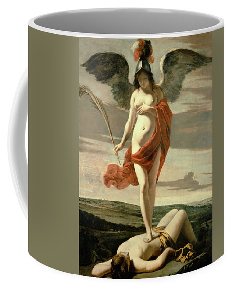 Female; Nude; Breast; Symbolic; Patriotic; Martyr's Palm; Helmet;winged; Landscape;triumph; Suppression; Allegorie De La Victoire Coffee Mug featuring the painting Allegory Of Victory by Louis Le Nain