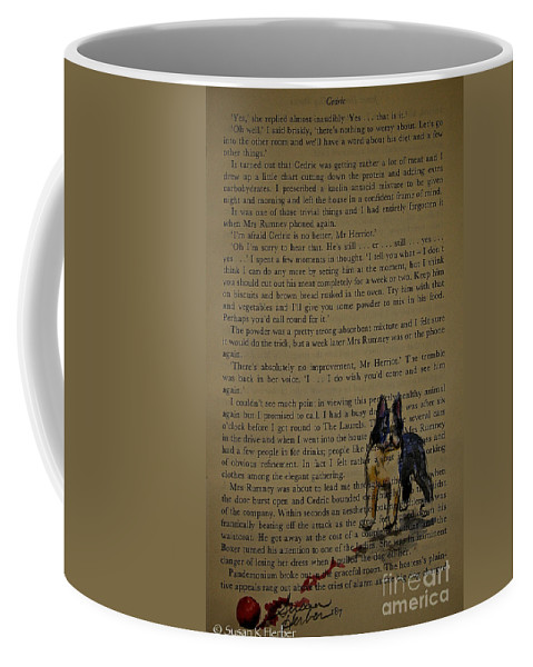 Animal Coffee Mug featuring the painting Almost Off The Page by Susan Herber