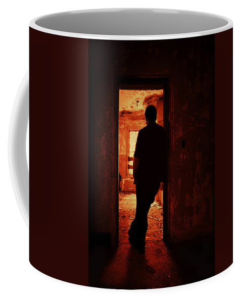 Male Coffee Mug featuring the photograph Alone In The Endzone by Evelina Kremsdorf