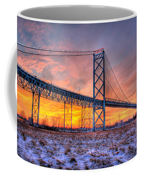Sun Coffee Mug featuring the photograph Ambassador Bridge Sunrise 1-16-2012 Detroit Mi by Nicholas Grunas