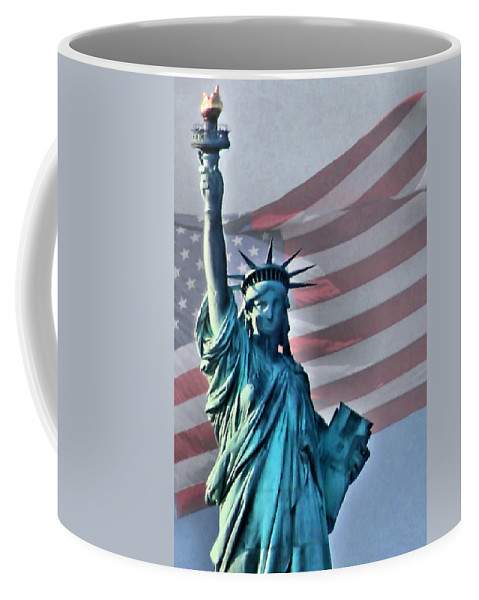 Statue Of Liberty Coffee Mug featuring the photograph American Welcome by Kristin Elmquist