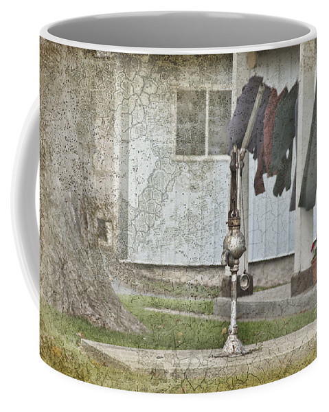 Amish Coffee Mug featuring the photograph Amish Pump And Cup by David Arment