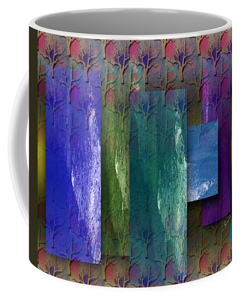 Abstract Coffee Mug featuring the mixed media Among The Trees by Ruth Palmer