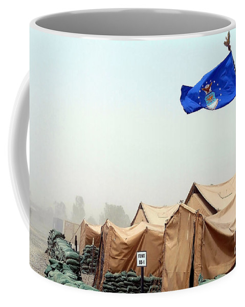 Horizontal Coffee Mug featuring the photograph An Air Force Flag In Tent City Waves by Stocktrek Images