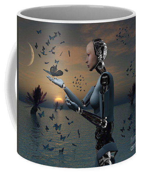 No People Coffee Mug featuring the digital art An Android Takes A Closer Look by Mark Stevenson