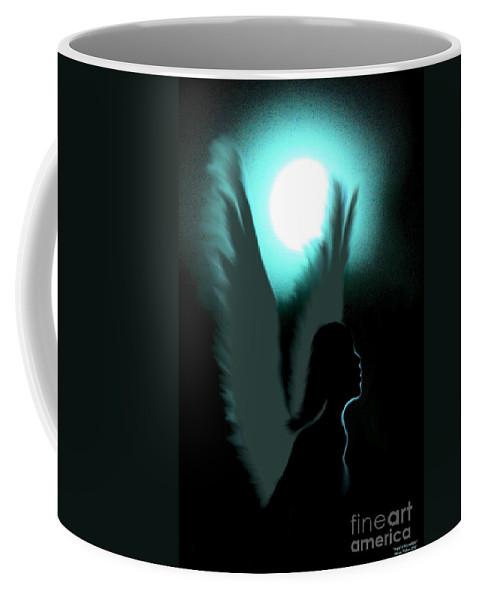 Angel Of Moonlight Coffee Mug featuring the digital art Angel Of Moonlight by Maria Urso