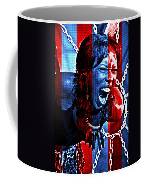 Anger Woman Chains Coffee Mug featuring the photograph Anger In Red And Blue by Alice Gipson