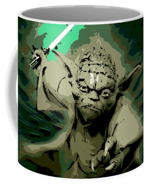 Angry Coffee Mug featuring the digital art Angry Yoda by George Pedro