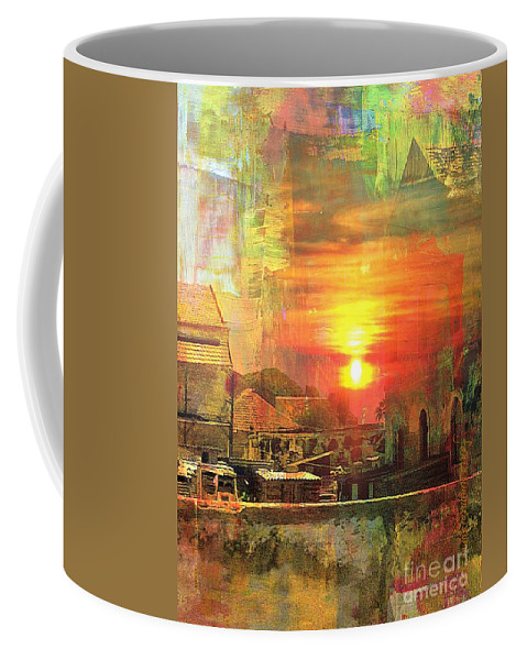 Fania Simon Coffee Mug featuring the mixed media Another Day In Poverty by Fania Simon