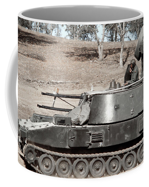 Horizontal Coffee Mug featuring the photograph Anti-aircraft Guns Mounted On An M109 by Stocktrek Images
